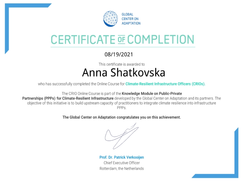 Certificate of completion of Online Course on Public-Private Partnerships (PPPs) for Climate-Resilient Infrastructure